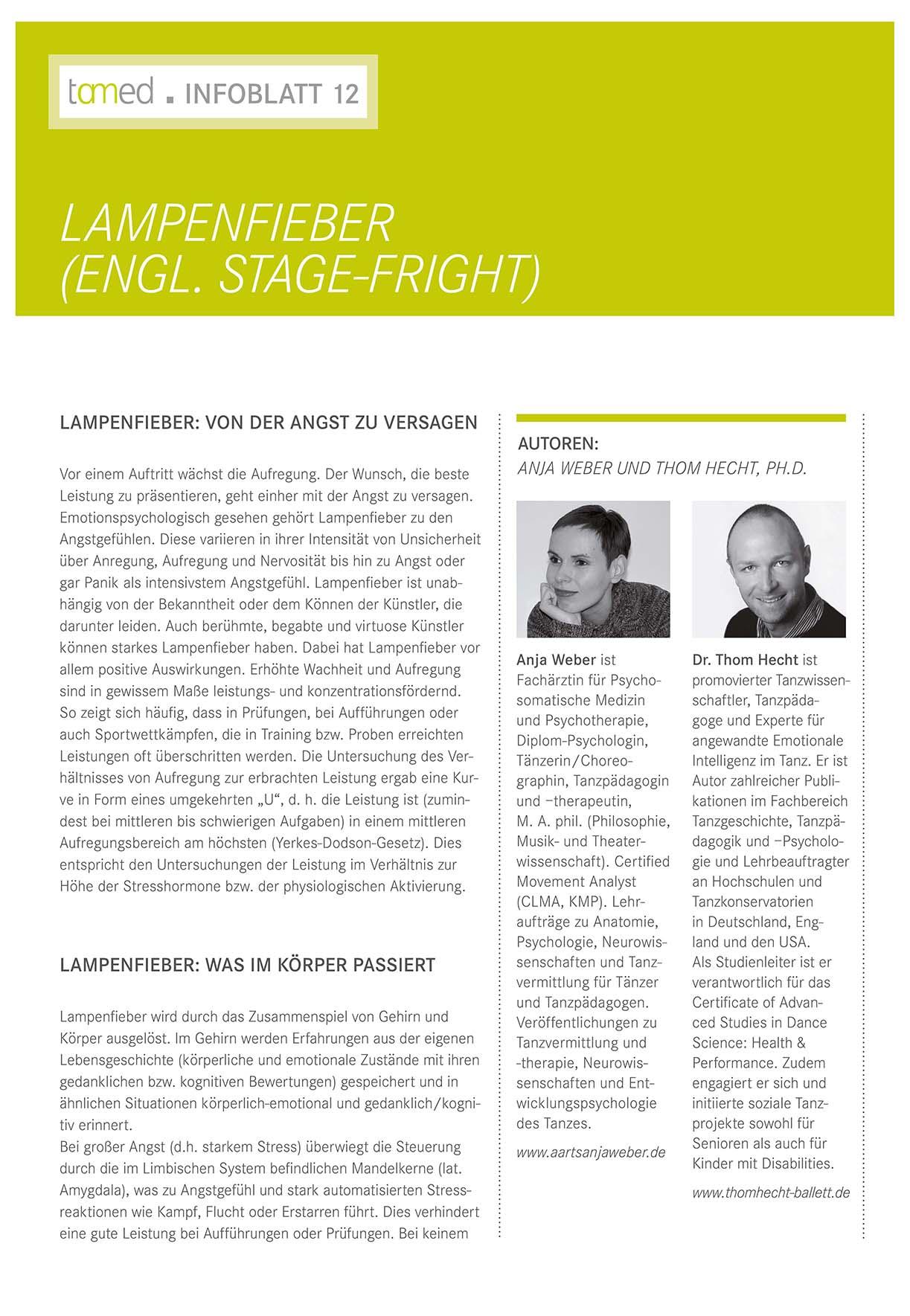 Infoblatt 12 - Lampenfieber